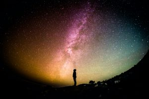 Man looking at space